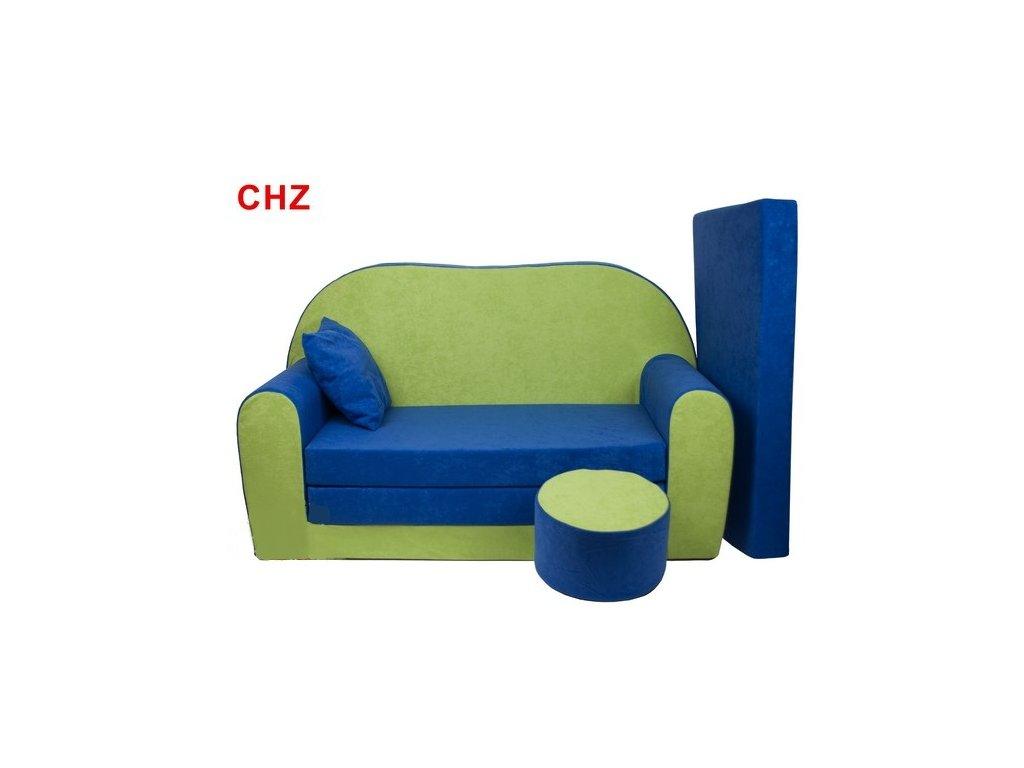 Dětská sedací rozkládací souprava c bobkem - zelená, modrá CHZ