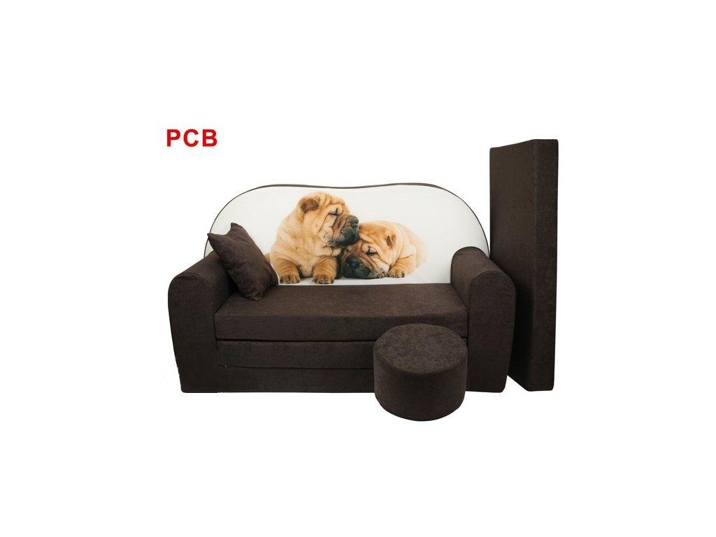 Dětská sedací rozkládací souprava s bobkem hnědá - pes PCB