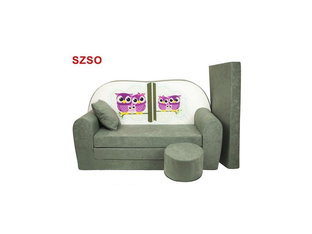 molitanová sedačka s bobkem šedá sovy