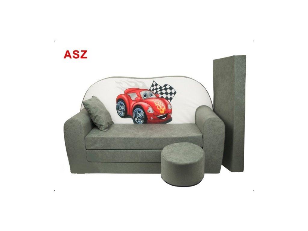 Dětská molitanová rozlkádací pohovka šedá šervené auto ASZ