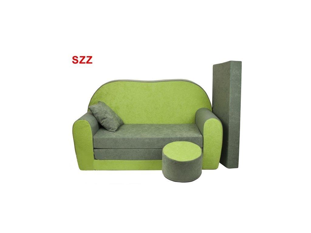 molitanová sedačka zelená šedá