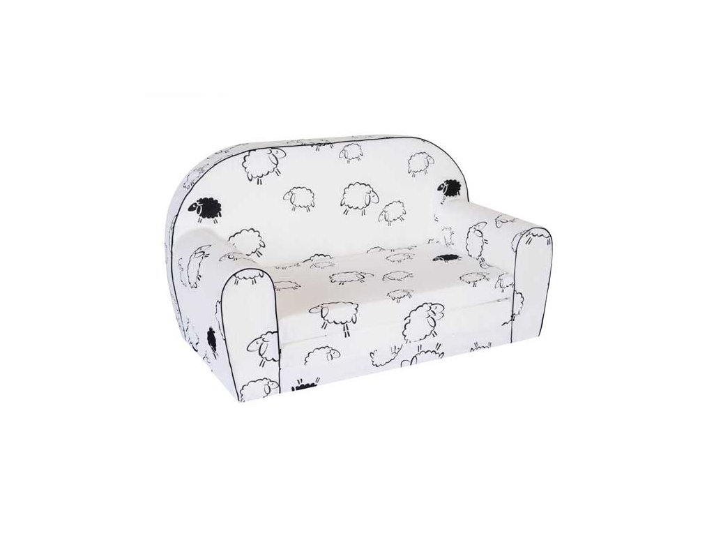 Dětská sedací rozkládací pohovka 100 cm bílá ovečka