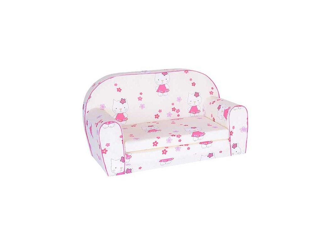 Dětská sedací rozkládací pohovka 100 cm krémová kitty