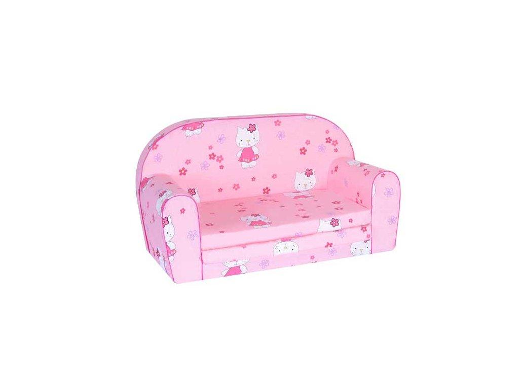Dětská sedací rozkládací pohovka 100 cm růžová kitty