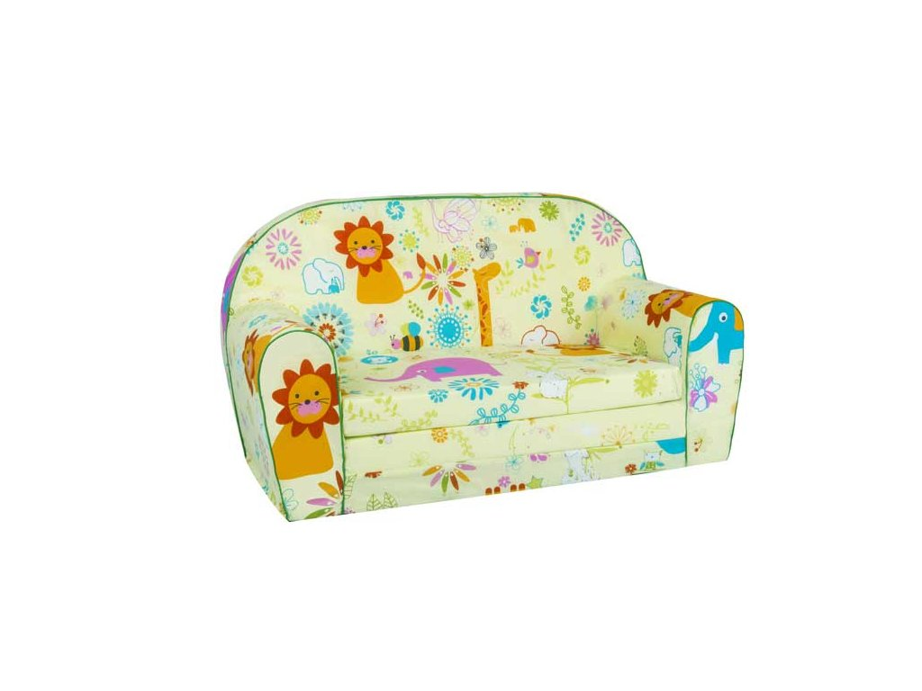 Dětská sedací rozkládací pohovka 100 cm zelené zoo