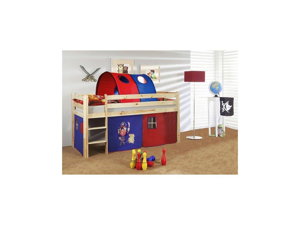 dětská vyvýšená postel dětská patrová postel palanda přírodní pirát