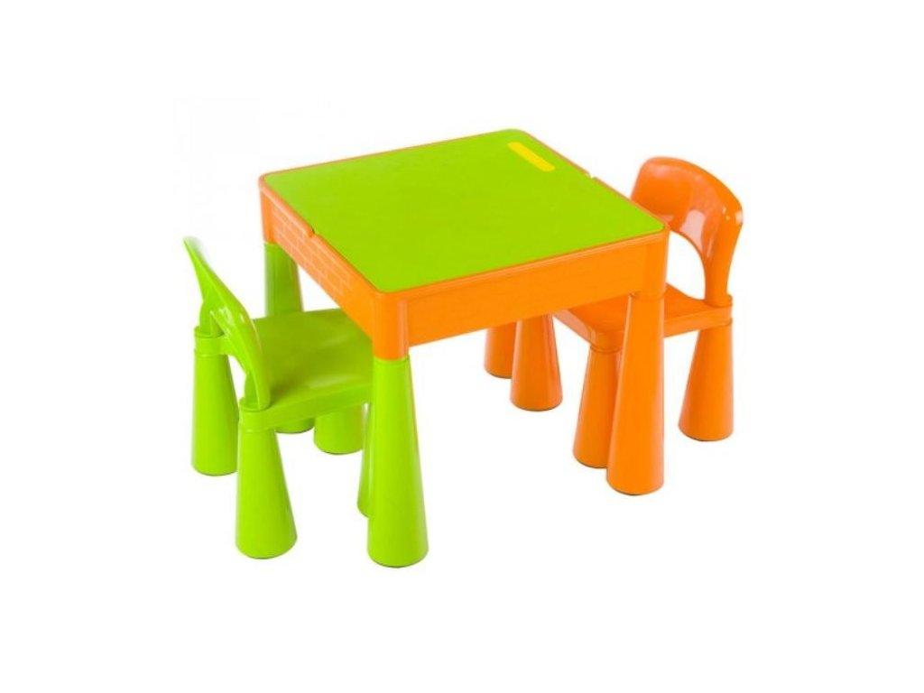 Tega Dětský set Mamut 2 židle a stůl ZELENÝ-ORANŽOVÝ