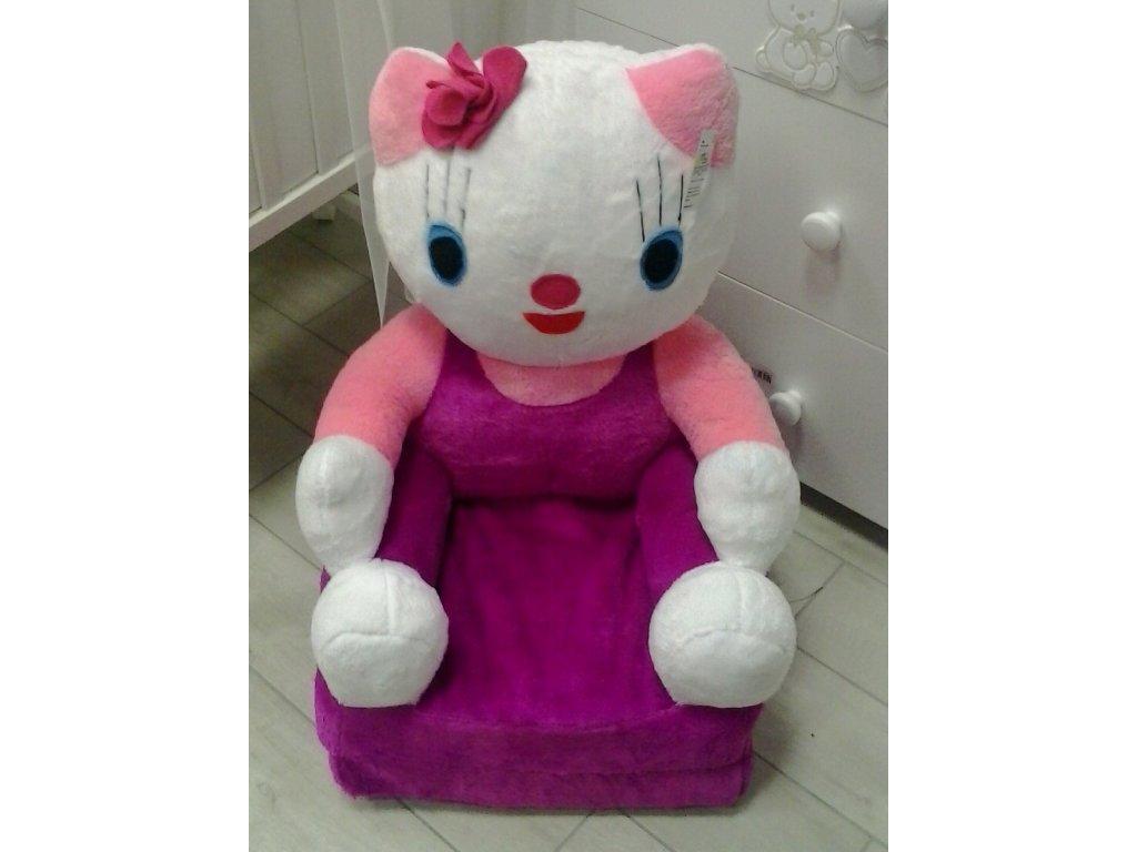 Dětské plyšové rozkládací křesílko Hello Kitty