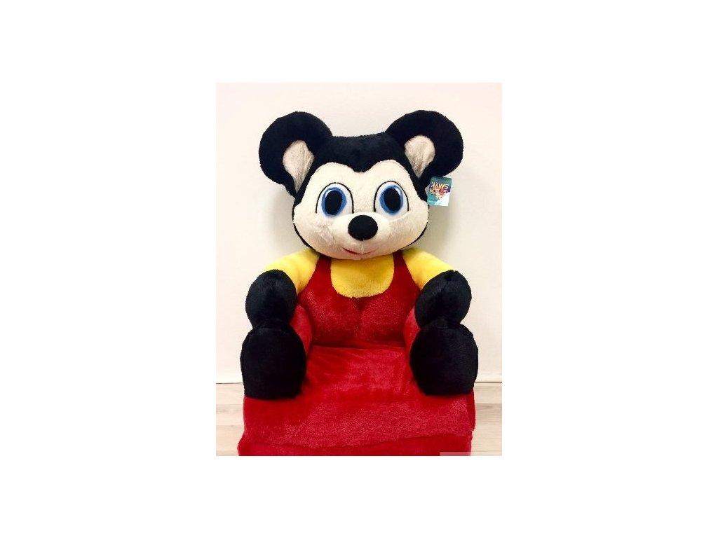 plyšové rozkládací křesílko mickey mouse