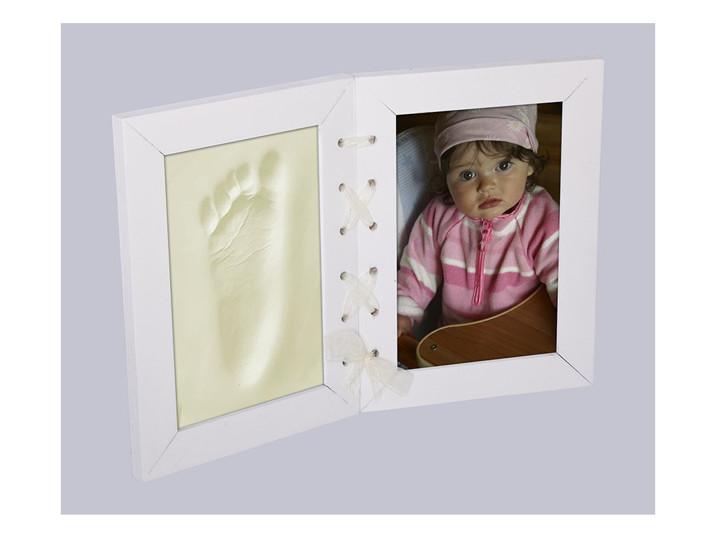 Otisky s fotkou v rámečku - stužka bílý - 2dílný
