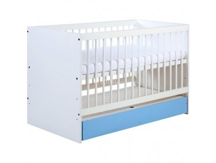 KLUPS Dětská postýlka Dalia modrá 120x60 cm + úložný prostor
