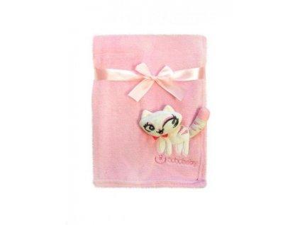 Bobo baby deka s 3D aplikací Kočička růžová