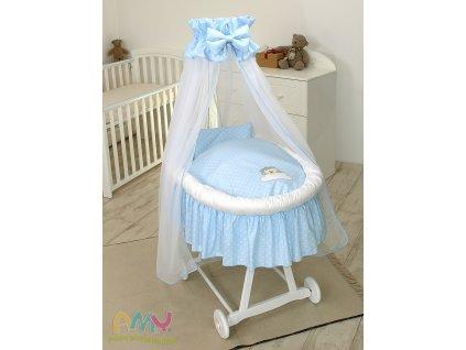 Proutěný košík pro miminko s kompletním vybavením bílý - Ježek modrý