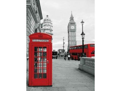Obraz 30 x 40 cm červená telefonní budka