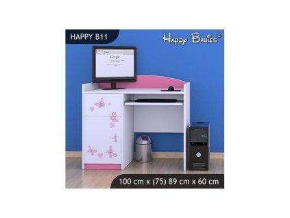 Psací stůl Kevin B11 - vzor 07/růžový