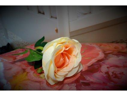 Dekorace - Umělá růže - 60 cm - lososová
