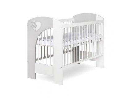 Klups Dřevěná dětská postýlka 120 x 60 cm - Nel Srdce bílá,šedá