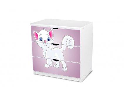 Dětská komoda Adam 12 - fialová kočička