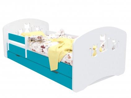 Dětská postel Happy Babies Design kočky modrá