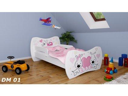 dětská postel s obrázkem pejsek
