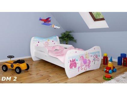 dětská postel s obrázkem zámek princezna jednorožec