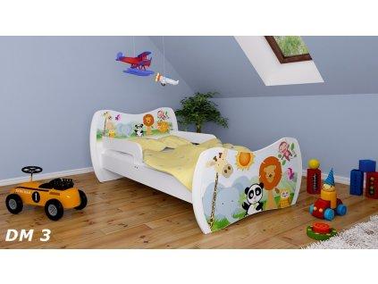 dětská postel s obrázkem zoo safari zvířátka