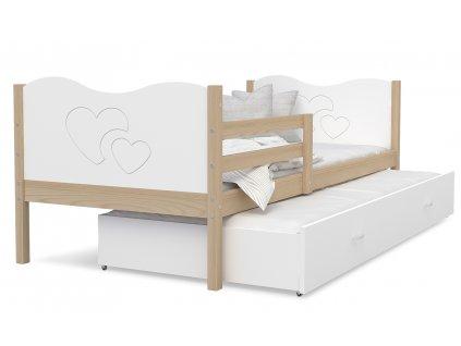 MAX P2 dětská postel s přistýlkou olše růžová