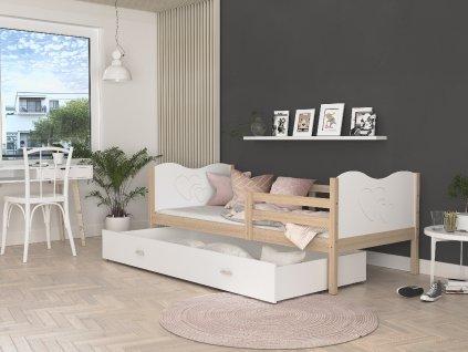 MAX P Dětská postel s úložným prostorem olše bílá srdce