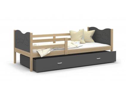MAX P Dětská postel s úložným prostorem olše zelená mašinka