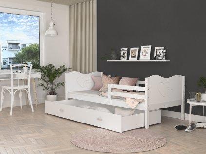 MAX P Dětská postel s úložným prostorem šedá bílá srdce