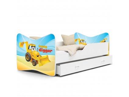 Dětská postel s obrázkem bagr 04 bílá