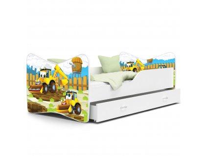 Dětská postel s obrázkem bagr 48 bílá