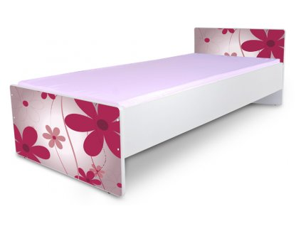 Postel pro mládež Junior 1 - květy růžové 180x80 cm + matrace zdarma