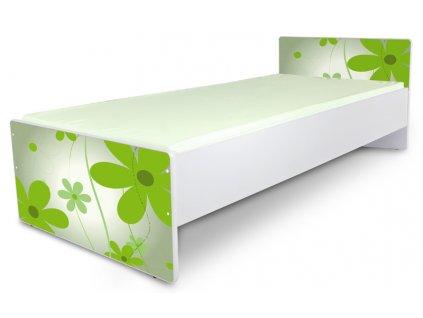 Postel pro mládež Junior 2 - květy zelené 180x80 cm + matrace zdarma