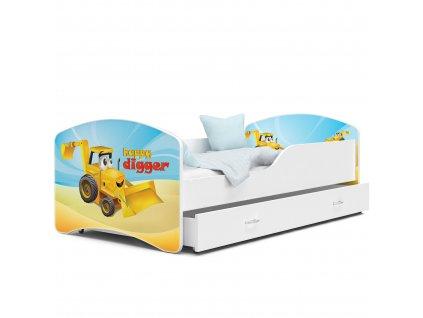 Dětská postel s obrázkem 04 bagr bílá