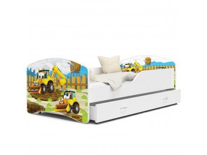 Dětská postel s obrázkem 48 bagr 2 bílá