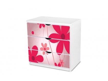 Dětská komoda Adam 1 - růžové květy