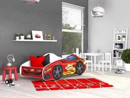 01 Dětská postel červené auto