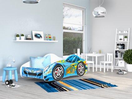 02 Dětská postel modré auto