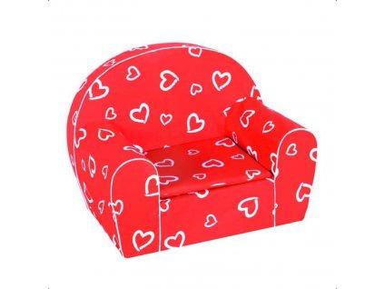 Dětské molitanové křesílko červené srdce
