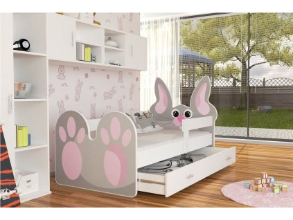 Dětská zvířátková postel králík šedá