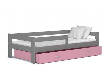 Dětská postel Hery,HUGO šedá růžová