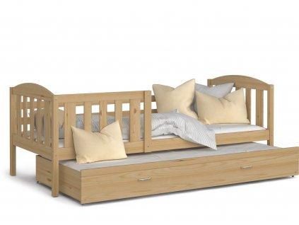 Dětská postel Kurt s přistýlkou přírodní