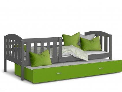 Dětská postel Kurt s přistýlkou šedá zelená