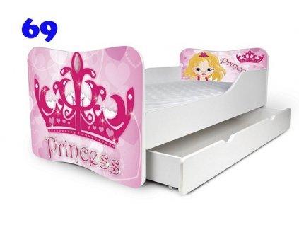 Dětská obrázková postel adam 160 x 80 cm korunka princezna