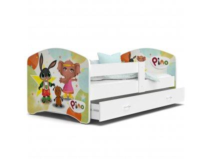 49 Dětská postel s úložným prostorem a zábranou králíček Bing bílá