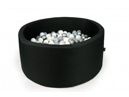 suchý bazén s kuličkami kulatý černý