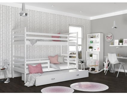 patrová postel s přistýlkou bílá (3)