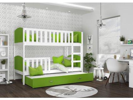 patrová postel s přistýlkou bílá zelená