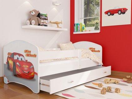 43 dětská postel s obrázkem červené auto foto